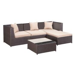 Palm Springs Outdoor 5 pc Furniture Wicker Patio Set w Chairs Table