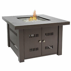 Gas Outdoor Fire Pit Table With Hammered-Antique-Bronze Finish With Cover