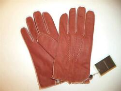 Joseph Abboud Rabbit Fur lined Genuine Leather gloves Small Rust