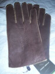 Joseph Abboud Rabbit Fur lined Leather gloves Small Brown