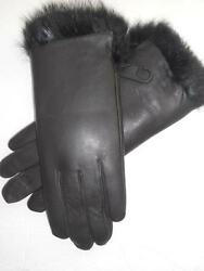 Beautiful Black Fully Lined Rabbit Fur Genuine Leather Gloves