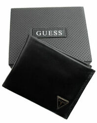Guess Men#x27;s Leather Credit Card Id Wallet Passcase Bifold Black 31GU22X030 $26.99