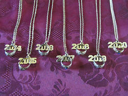 Graduation School Color Birthstone Necklace W Mini Ring amp; Year Charm 18quot; 2011 23 $10.99