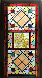~ EARLY VICTORIAN STAINED GLASS WINDOW ~ BUTTERFLY ~ ARCHITECTURAL SALVAGE ~
