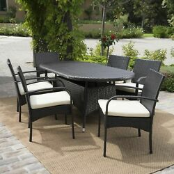 Outdoor Patio Furniture 7pc Multibrown Wicker Oval Dining Set w Cushions