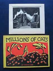MILLIONS OF CATS wi ORIGINAL ENGRAVING - BOTH  SIGNED by WANDA GAG - 1st Ltd Ed.