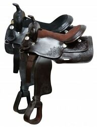 Economy Style Saddle with Suede Leather Seat Black or Brown Full QH Bars 16