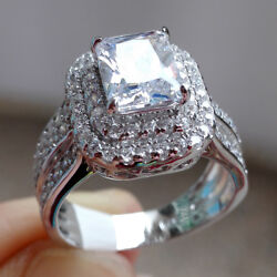 Radiant White Cz 925 Sterling Silver Wedding Engagement Gemstone Ring Size 5-10 $24.29