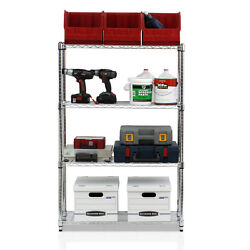Furinno WS15003 Wayar Heavy Duty Wire Shelving System 4-tier Chrome Standing She