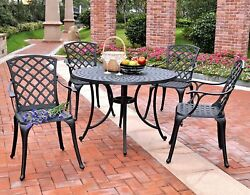 Crosley Furniture Sedona 42 5 PC W High Back Arm Chairs Black Patio Dining Set