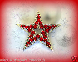 RED RHINESTONE 5 POINT STAR CHRISTMAS PATRIOTIC SILVER GOLD GIFT PIN BROOCH $9.97