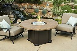 Outdoor Greatroom Colonial Chat Height Fire Pit Table with Mocha Top