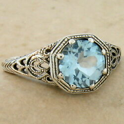 GENUINE SKY BLUE TOPAZ ART DECO ANTIQUE STYLE 925 STERLING SILVER RING #882 $32.24