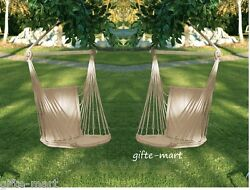 2 set White Cotton padded Swing hammock hanging outdoor Chair garden patio porch $88.63
