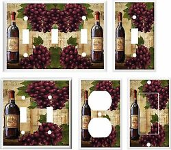 WINE AND GRAPE  BOTTLE LIGHT SWITCH COVER PLATE  K 11 U PICK PLATE SIZE $6.19