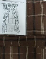 Country Primitive Tanner Chocolate Brown Plaid Curtain Panels 84