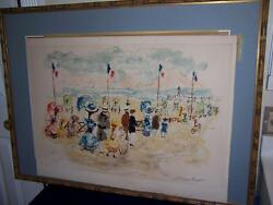 PENCIL SIGNED EUROPEAN BEACH SCENE COLORED ETCHING EA ARTIST PROOF $159.20