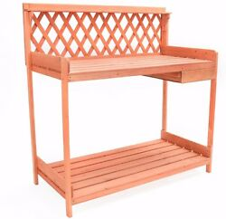 Outdoor Potting Bench Garden Work Station Planting Bench Solid Wood Construction