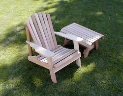 Cedar American Forest Adirondack Chair and Table Set Natural 37