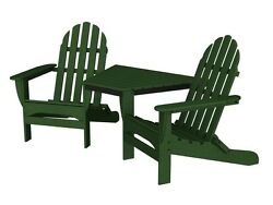 POLYWOOD Polywood Adirondack Tete-A-Tete In Green TT4040GR Adirondack Chair NEW