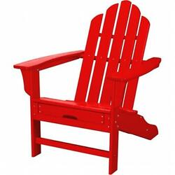 Hanover HVLNA15SR All-Weather Adirondack Chair With Attached Ottoman Sunset Red