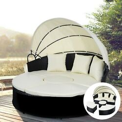 Patio Furniture Sofa Round Retractable Outdoor Canopy Daybed Wicker Rattan Black