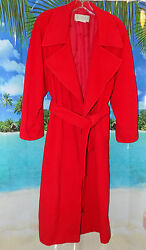 Vintage GUCCI Women's RED Cashmerewool Long Open Coat Size 42 wPockets