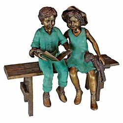 Bronze life size Read To Me Boy And Girl On Bench Cast Garden Statue decor bench