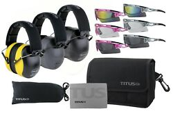 Titus Onyx 37 Highest NRR Hearing Protection PPE Earmuffs & Safety Glasses Combo