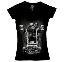 David Gonzales Dga Ride Or Die Chick My Old Lady Biker Tattoo Womens Shirt $22.95