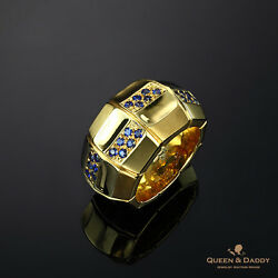 Barrique - 18K(750) Yellow Gold  Sapphires Design Ring for Men