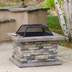 Home Decor 29-in W Stone Finish Outdoor Fireplace Cement Wood-Burning Fire Pit