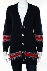 Barrie Navy Blue Red Cashmere Fringe Cardigan Sweater Size Medium New 111527
