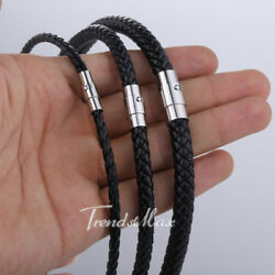 468mm BrownBlack Leather Mens Necklace Choker Cord Rope 16-22 inches