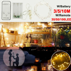30 50 100 LED Battery Powered Copper Wire Christmas String Fairy Light W Remote $9.59