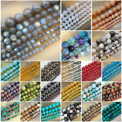 Wholesale Smooth Natural Gemstone Round Loose Beads 15quot; 4mm 6mm 8mm 10mm 12mm $6.99