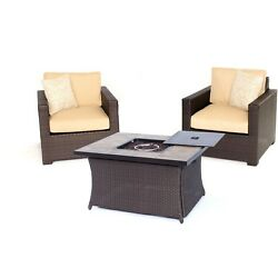 Hanover  Metropolitan 3-Piece Chat Set W Lp Gas Fire Pit Table In Sahara Sand