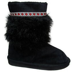 Black Fur Womens Mid Calf Boots Sherpa Lined Red Embroidered Diamond Accent $15.99