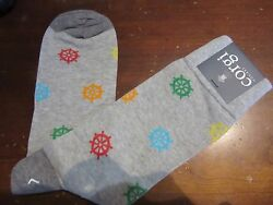 NEW Corgi Lightweight Cotton MENS Large Socks Wales UK Gray Ship Wheels $16.99
