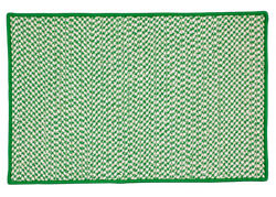 Houndstooth Tweed Indoor Outdoor Braided Rectangle Rug Grass Green~Made in USA