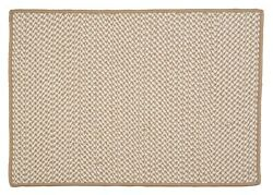 Houndstooth Tweed Indoor Outdoor Braided Rectangle Rug Cuban Sand ~ Made in USA