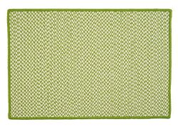 Houndstooth Tweed Indoor Outdoor Braided Rectangle Rug Lime ~ Made in USA