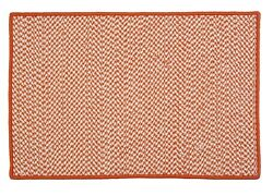 Houndstooth Tweed Indoor Outdoor Braided Rectangle Rug Orange ~ Made in USA