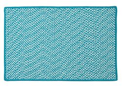 Houndstooth Tweed Indoor Outdoor Braided Rectangle Rug Turquoise ~ Made in USA