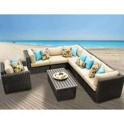 Miseno VENICE-08b-WHEAT 8-Piece Outdoor Furniture Set and Club Chairs
