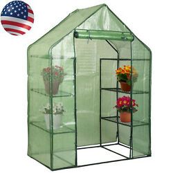 Portable Mini 8 Shelves Walk In Greenhouse Outdoor 4 Tier Green House Hot