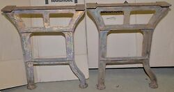 2 massive cast iron table legs steam punk industrial collectible factory bench