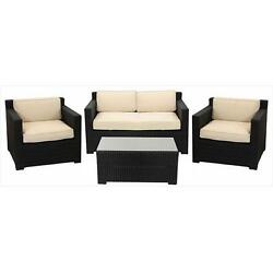 4 Pieces Black Resin Wicker Outdoor Patio Furniture Set Beige Cushions
