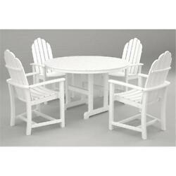 Polywood PWS114-1-WH Classic Adirondack Dining Set White 5 Piece