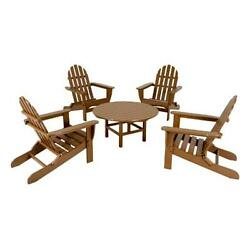 Classic Folding Adirondack Conversation Group Sunset Red and Tangerine 5 Piece